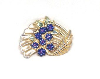 Stunning Enamel Flower Blue Green Gold Tone Vintage Estate Brooch