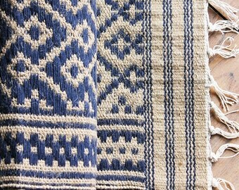 Royal Blue & Beije Reversible Kalamkari Print Cotton Jute Rug, Vegan Rug, Jute Dhurrie, Home Decor, Hand Woven Rug, L 5 feet x W 3 feet