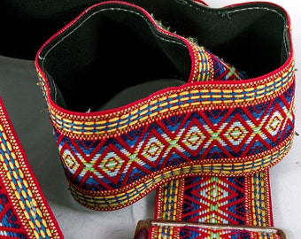 "Red and Blue Hippy, Geometric Camera Strap, 45"" Long and 2"" Wide"
