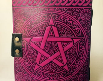 Pentagram Leather Journal // Star Leather Journal // Leather notebook // Journal with lock