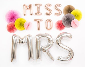 Miss to Mrs Balloons / Rose Gold & Silver Foil Mylar Letter Balloons / Bridal Shower Decoration / Bachelorette Party