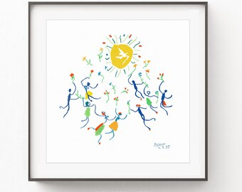 Pablo Picasso, Picasso Peace Print, Picasso Circle Of Friendship Print, Picasso Poster, Picasso Drawing, Minimalist Print, Picasso Women