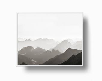 Mountain Print, Black and White Print, Mountain Photography, Wall Art Print, Landscape Photography, Nature Photography, Serenity Solitude