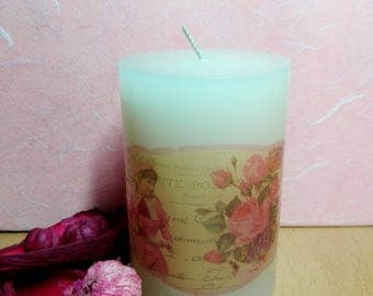 Vintage looking handmade decoupage candle, vanilla scented, lady and roses pattern, the perfect gift, home & living