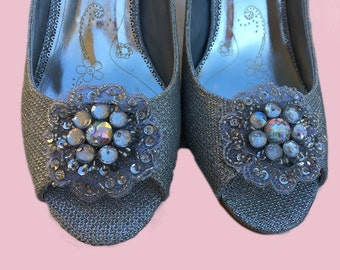 Wedding shoes silver metallic peep toe high heels bridal shoes embellished with floral Crystal, lace, Rhimestones