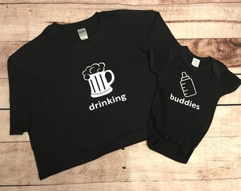 Drinking Buddies, Drinking Buddies T-Shirt, Daddy and son shirts, fathers day gift, new dad gift, baby shower gift, dad's birthday