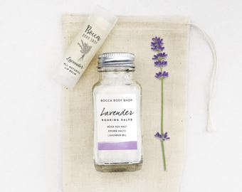 Small Spa Gift Set, Mini Bath Gift Set, Lavender Bath Salts, Cute Spa Gift Idea for Her, Bath and Body Spa Set Gift for Women, Mothers Day