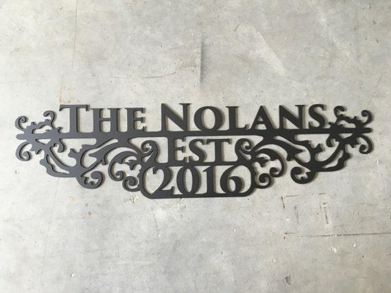 Custom Metal Sign - Last Name Wall Art | Wedding Gift | Decor | Established  Year