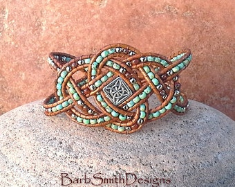 Celtic Bracelet-Turquoise Beaded Leather Knot Bracelet-Wide Wrap Cuff Bracelet-Celtic Knot-Josephine Knot-The Celtic Queen in Turquoise