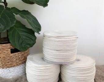 Macrame Cord 7mm x 220m, 3 Ply (3 Strand) Twisted Natural Cotton