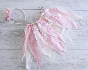 Pink Floral Fairy Skirt Flower Crown Gypsy Skirt Faerie Skirt Girls Birthday Outfit Shabby Chic Outfit Flower Girl Dress Wedding