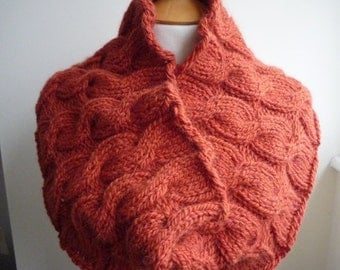 Burnt Orange Cabled Cowl, Wool and Alpaca