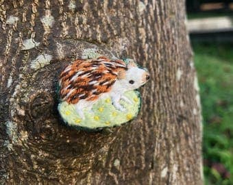 hedgehog embroidery brooch