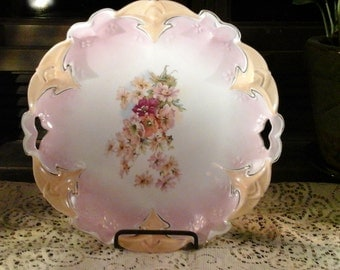 Beautiful Antique Bowl Platter Pink Floral Unmarked 1900's Vintage Dish
