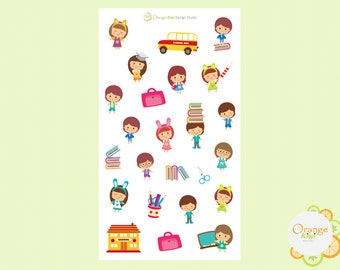 School Planenr Stickers, Children School Scrapbooking Stickers, Erin Condren Life Planner