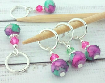 stitch markers - knitting or crochet - pink purple & green mottled abstract place holders - beaded progress markers