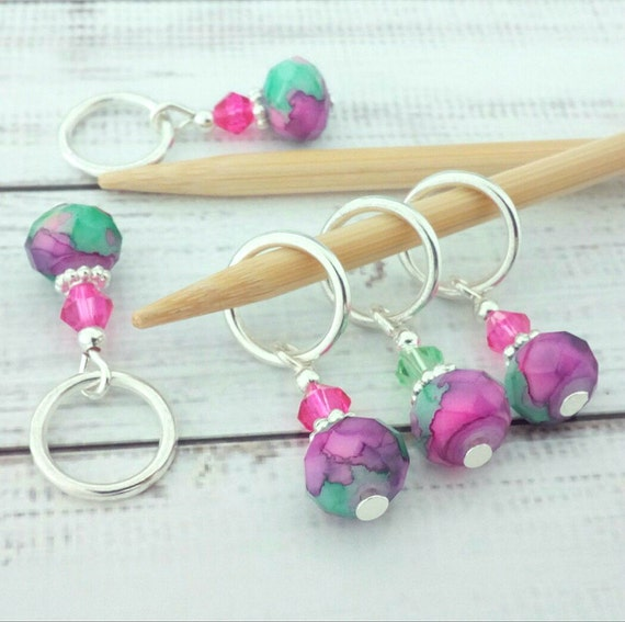Using Stitch Markers In Knitting : stitch markers knitting or crochet pink purple & green