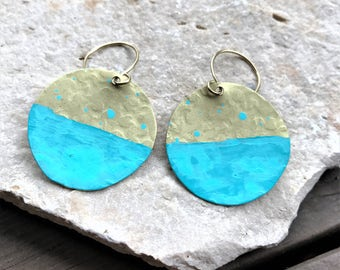 Brass Patina Dangle Earrings - round disc hammered minimal circle simple turquoise boho jewelry