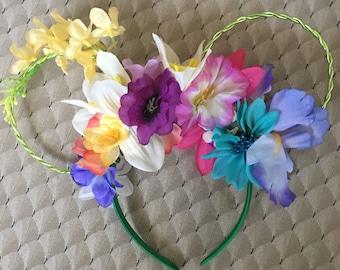 Golden afternoon  /Alice in wonderland flowers  floral wire mickey minnie disney ears