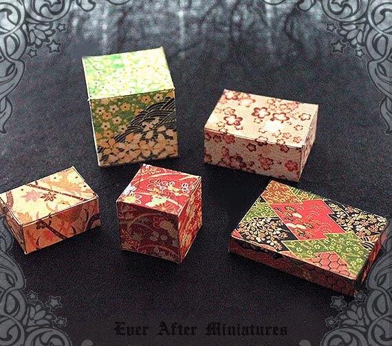 5 JAPANESE Miniature Gift Box Set –1:12 PRINTABLE Asian