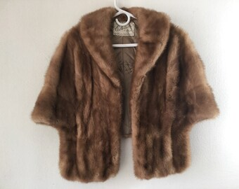 Brown women's fur bolero, real mink, soft fur, fluted form, retro design, with collar, warm bolero, festive look, vintage, size-universal.
