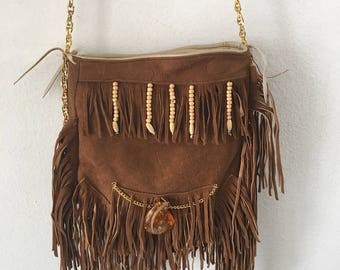 Real handmade crossbody bag, from soft suede with fashionable suede fringe with amber stone new collection women's brown bag size-small.