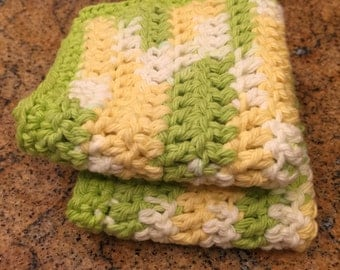 Yellow, green & white crochet dishcloths - set of two