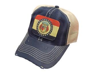 Missouri Flag Distressed Trucker Cap