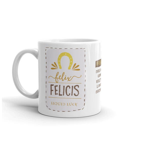 Mug, Felix Felicis, Liquid Luck, Warning: Overuse Causes Giddiness, Recklessness, & Dangerous Overconfidence, Harry Potter Fan Coffee Mug