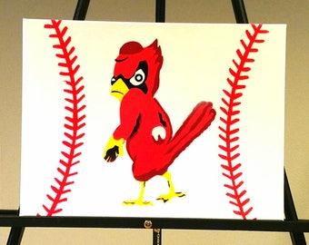 Classic Cardinals Redbird - St. Louis Cardinals Baseball Artwork, Custom Painted Canvas, Hand Painted, World Series, Man Cave Decor
