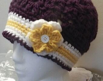 Crochet beanie, handmade, flower beanie, winter hat, ladies hat