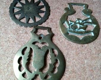 3 Vintage Horse Brass