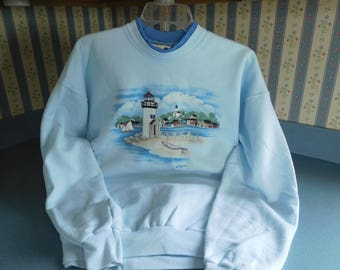 Vintage Women's Lighthouse Sweatshirt Size Large by Morning Sun