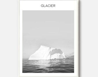 Iceberg print, Frozen Landscape, Glacier Photography, Modern Art Printable, Iceberg Home Decor, Natural Modern Art,  Grey Office Poster