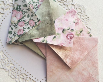 Miniature envelopes / Mini stationery / Envelopes /  Cute paper crafts / Vintage floral paper stationary / Origami / stationary set