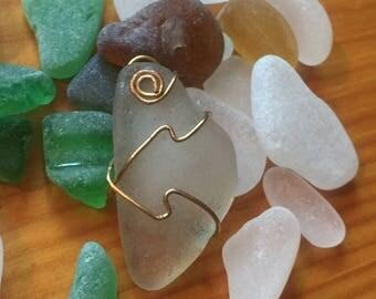 Opaque sea glass pendant