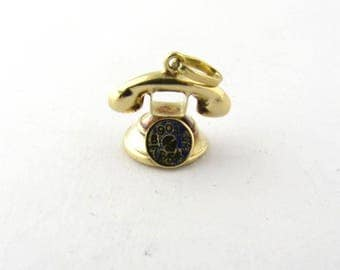 Vintage 14K Yellow Gold Rotary Dial Telephone Charm 3D #278