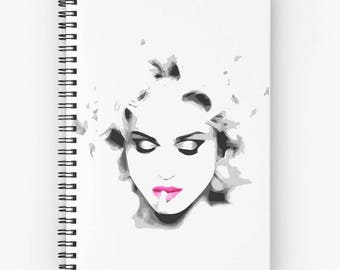 Madonna, spiral notebook, elegant woman, Madonna notebook, illustration madonna, notebook