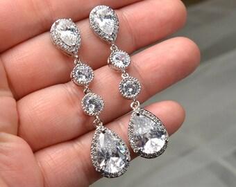 Wedding Long drop Earrings, Bridal Earrings,jewelry for Bride, Wedding Earrings, silver earrings, long drop earrings, wedding gift