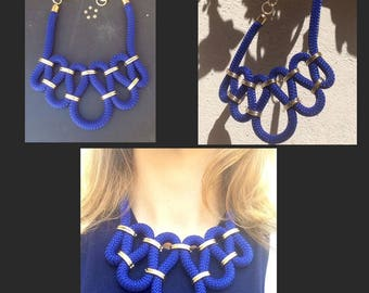 Blue climbing rope necklace