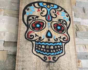 SKULL..Hand painted...Reclaimed Wood..Wall Hanging...Art...Customize Your Order..Wall Decor...Rustic..Gift