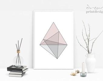 Scandinavian Print, Geometric Printable Poster, Scandinavian Poster, Minimalist Print, Modern Geometric Print, Triangle Wall Art, Home Decor