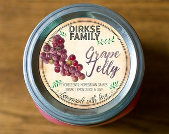 Customized Label - Grape Jelly, Jam, Preserves, Juice Canning Jar Label - Wide Mouth & Regular Mouth - Vintage - All Text is Customizable