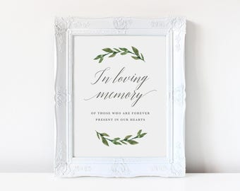 In Loving Memory Sign | Wedding Memorial Table Sign, DIY, Instant Download