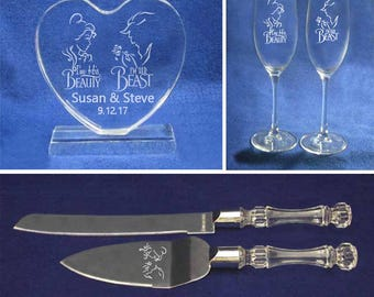 Set of Beauty and the Beast Wedding Cake topper toasting glasses and knife & cake server personalized with your info
