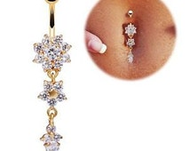 Crystal Bar Belly Ring Gold Body Piercing Button Navel Flower Snow Trendy