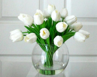 Real Touch Flowers Centerpiece-Faux Floral Arrangement- Arrangement-Silk faux arrangement -Fake flowers-White Tulips