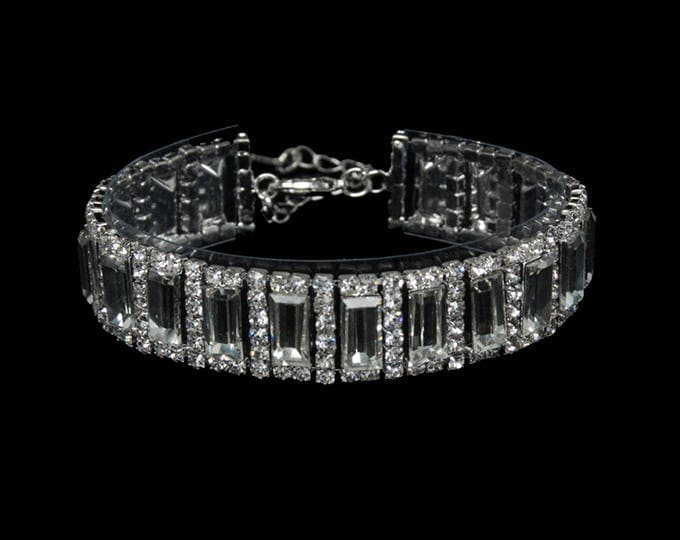 Angela Clear Crystal Competition Bracelet for IFBB, NPC, and NANBF Bikini Fitness Bodybuilding Contests