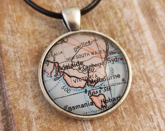 Australia, Victoria, Melbourne Map Necklace, Adelaide, Sydney, Canberra, Tasmania Map Pendant, Australia Antique Silver Plated Necklace