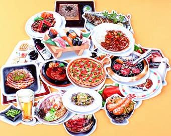 28pc  -  Dinner scrapbooking stickers